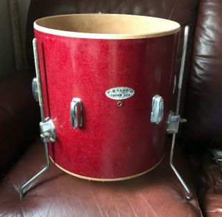 Vintage 60's Japan Red Sparkle 14x14 Floor Tom Drum Project Parts