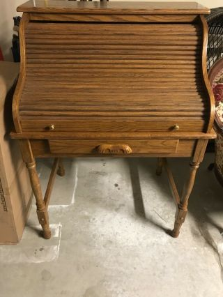 """44.  5"""" Antique Oak Roll Top Desk 5 Drawers,  5 Slots Computer Home Office Student"""
