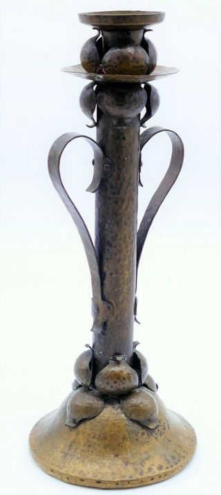 Fabulous Antique Brass Arts & Crafts Hammered Candlestick Orig Patina Unsigned