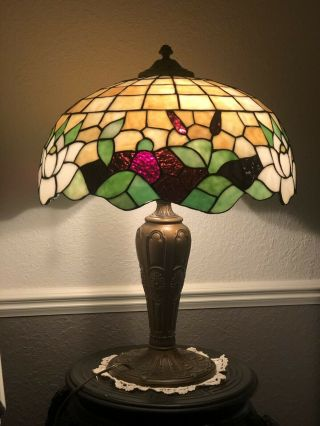 Miller Water Lilly Leaded Stained Glass Lamp Art Nouveau Handel Tiffany Era