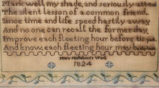 1824 Silk on Linen Needlework Sampler by Mary Nicholson Inscription on a Sundial 6