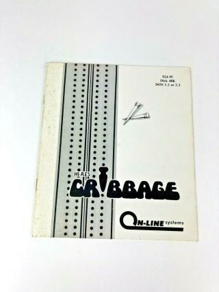 Rare 80s Apple Ii /,  Hi - Res Cribbage By Online Systems - Instruction Booklet