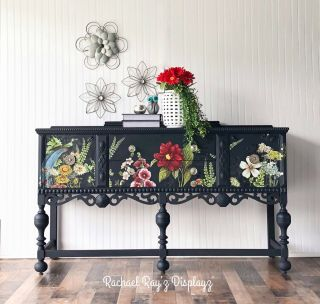 Navy Vintage 1940's Jacobean Buffet Table Or Console Cabinet For Dining Room
