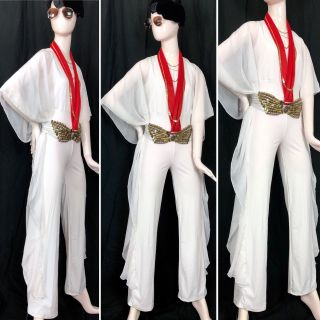 4 Pc Womens Elvis Costume Vtg 70s White Jumpsuit Pantsuit Belt Scarf Sunglasses