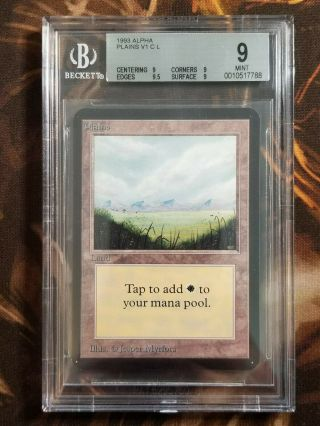 1993 Mtg Alpha Plains V1 Bgs 9.  0 Vintage Magic The Gathering Quad,