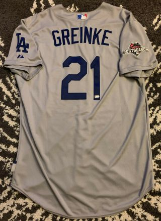 Dodgers Team Issued Zack Greinke Rare Jersey 2015 Postseason Mlb Authentication