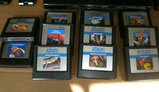 Vintage Atari 5200 4 - Port With 2 Controllers All Cords And 18 Games.  WOW 8
