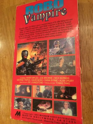 Robo Vampire (VHS 1993) Magnum Video.  Front Row Entertainment Rare OOP VHS 2