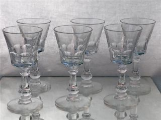 Set Of 6 Antique/vintage Facet Cut Crystal Cordial Or Sherry Glasses