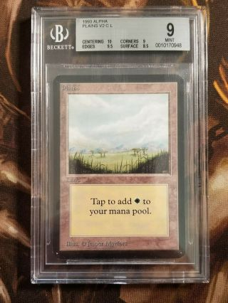 1993 Mtg Alpha Plains V2 Bgs 9.  0 Vintage Magic The Gathering