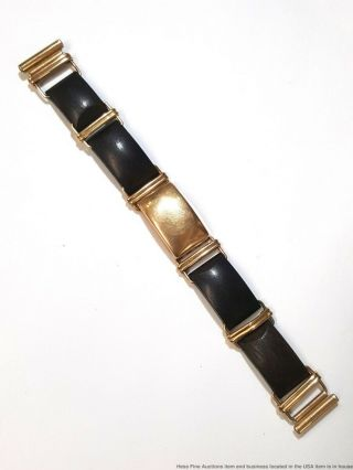 Rare Arts Crafts Modernist Allan Adler Yellow Gold Wood Watch Bracelet 16mm