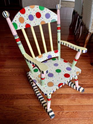 Mackenzie - Childs Wee Rocking Chair Hand Painted Discontinued & Rare Style