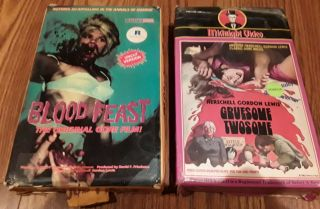 Herschell Gordon Lewis Blood Feast And Gruesome Twosome Vintage Vhs Tapes.