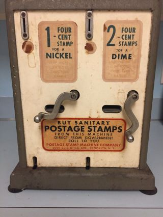 Vintage Postage Stamp Machine Co Ny Vending Machine 4¢ Stamps Late '50's