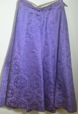 Vintage 1950s Chinese Purple Silk Damask Swing Skirt Uu834