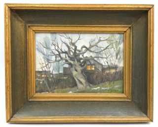 Russian Vintage Painting Signed тберман 60 Oil On Canvas Winter House With Tree