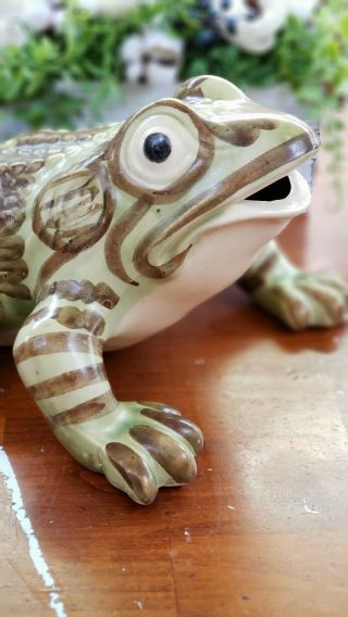 Rare Extra Large Vintage Brush McCoy Art Pottery Frog Figure 10 Inches Antique 2