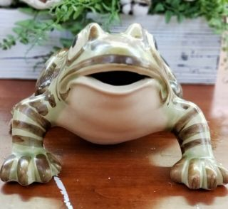 Rare Extra Large Vintage Brush McCoy Art Pottery Frog Figure 10 Inches Antique 3
