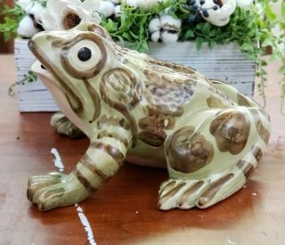 Rare Extra Large Vintage Brush McCoy Art Pottery Frog Figure 10 Inches Antique 4
