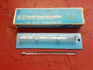 Vintage Bd Asepto Glass Medical Fever Thermometer Becton Dickinson Plus Add