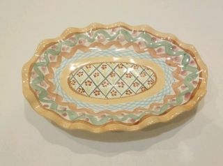Mackenzie Childs Victoria And Richard Era Vintage Pottery Small Oval Platter