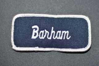 Blue on White Embroidered Vintage Name Tag Patch Sew-on for Work Shirt Uniform