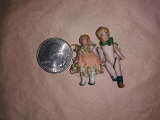 Antique Miniature,  Tiny,  Dollhouse Dolls,  Bisque?,  Outfits,  Jointed.