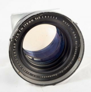 Kodak Aero Ektar 172mm F 2.  5 With Hood And Pacemaker Crown/speed Graphic Board