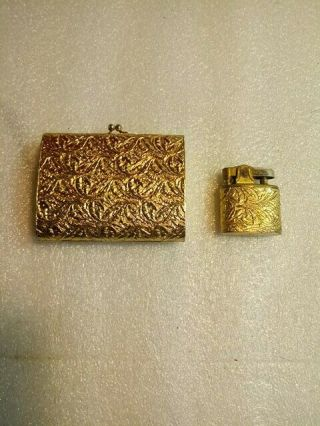 Vintage Napier Gold Art Deco Cigarette Case & Lighter Cork Lined Case.