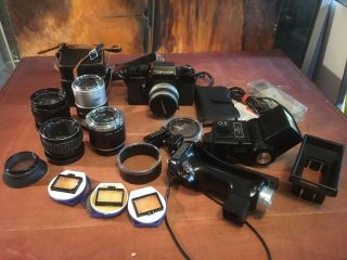 Vintage Topcon Dm Slr Camera With Lenses And Other Gear