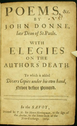 John Donne Poems 1669 Elegies Sonnets O My America Best &1st Complete Edition Nr
