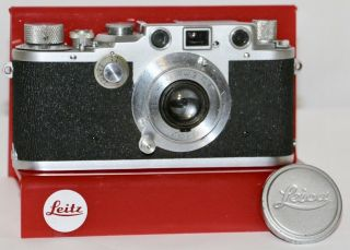Leica Wartime Iiic Body,  5cm F/3.  5 Elmar Sharkskin Cover Made In Germany 1945