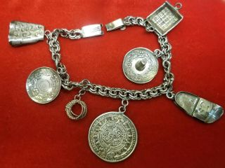 Vtg Old Taxco Mexican Sterling Silver Western Rodeo Theme Seven 7 Charm Bracelet