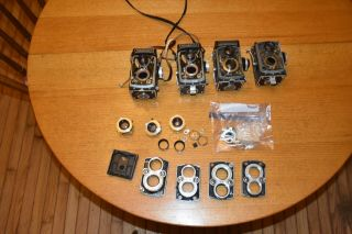 Rolleiflex Parts From Four Cameras,  Including Some Shutters,  Lenses Etc Nr Fs