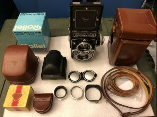 Rolleiflex 3.  5f TLR Camera Zeiss f3.  5 Planar 75mm with Prism and 11