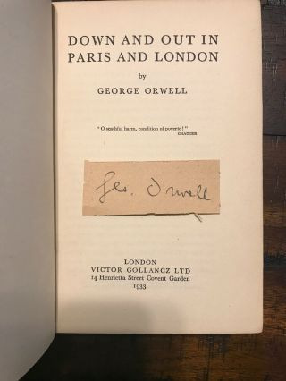 Signed: Down And Out In Paris And London George Orwell First Printing
