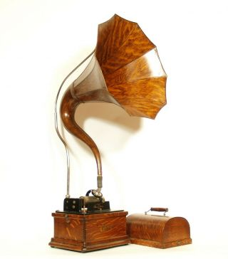1910 Edison Fireside Phonograph w/Matching Faux Wood Cygnet Horn 2/4 Minute 2