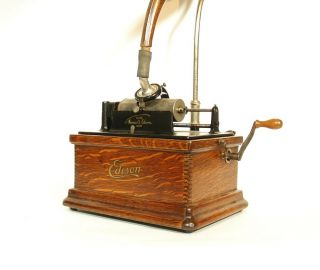 1910 Edison Fireside Phonograph w/Matching Faux Wood Cygnet Horn 2/4 Minute 3