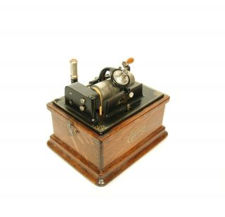 1910 Edison Fireside Phonograph w/Matching Faux Wood Cygnet Horn 2/4 Minute 5