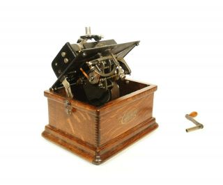 1910 Edison Fireside Phonograph w/Matching Faux Wood Cygnet Horn 2/4 Minute 8