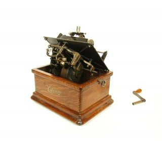 1910 Edison Fireside Phonograph w/Matching Faux Wood Cygnet Horn 2/4 Minute 9