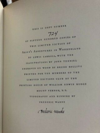 Alice In Wonderland By Lewis Carroll - Limited Edition
