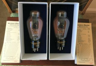 Western Electric Factory Matched 300b Tube Pair - - True Western Electric 300b Pair