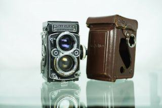 Rolleiflex 2.  8 F With Meter,  Leather Case