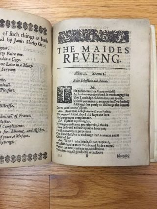 The Maides Revenge A Tragedy Written by James Shirley 1639 (First Edition?) 2