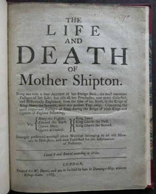 MOTHER SHIPTON 1648 STRANGE PROPHESIES Soothsayer LIFE DEATH 1687 PREDICTION 5