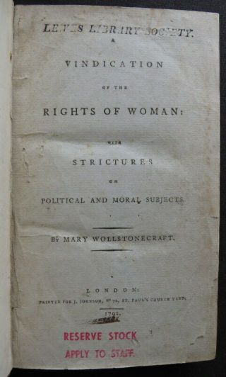 Mary Wollstonecraft 1792 Vindication Rights Of Woman 1st Philosophy Suffrage