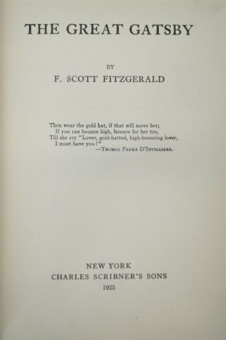 The Great Gatsby F.  Scott Fitzgerald 1st Edition/ Printing Scribners 1925 Books 6