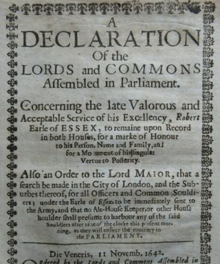 Devereux Essex 1642 Appointed Commander Parliamentarian Army English Civil War