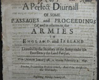 English Civil War News 1650 Parliament Army Cavaliers Rushworth Pecke Fairfax